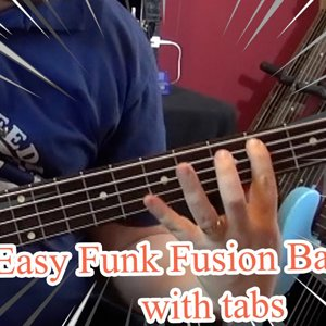 Easy Funk Fusion Bass Line (with tabs) #13 (Lakland Bass)