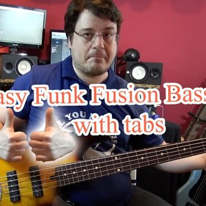 Easy Funk Fusion Bass Line (with tabs) #15 (Lakland Bass)