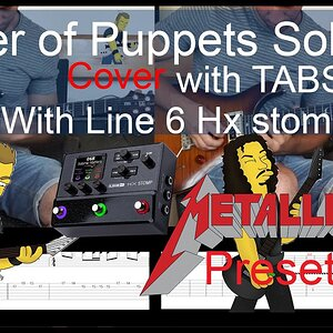 METALLICA - MASTER OF PUPPETS SOLO COVER 1 AND 2 TABS with Line 6 Hx Stomp