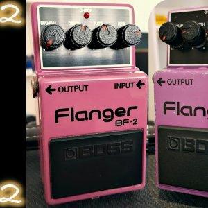 Comparison #13: Boss BF-2 Flanger (Black Label/Silver Screw vs. Green Label)